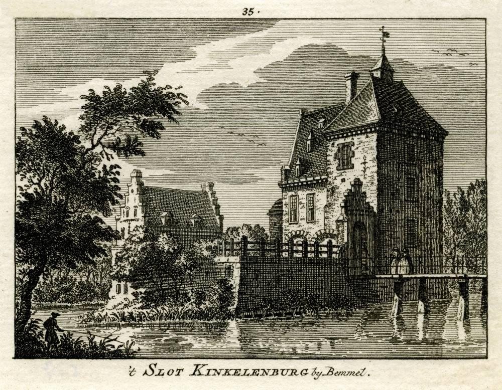 Kasteel De Kinkelenburg in Bemmel. Tekening Jan de Beijer, gravure Hendrik Spilman (Uit: Het Verheerlykt Nederland, Isaac Tirion, 1745/1774)